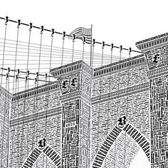 The Brooklyn Bridge, as if created entirely with type.