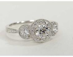 0.7 Carat Diamond Three Stone Milgrain Halo Diamond Engagement Ring | Recently Purchased | Blue Nile