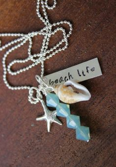 Beach Life Handstamped Sterling Necklace