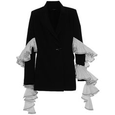 Ellery Maneater Ruffle Blazer (49 185 UAH) ❤ liked on Polyvore featuring outerwear, jackets, blazers, black, lapel jacket, blazer jacket, ruffle collar jacket, ruffle blazer jacket and e l l e r y