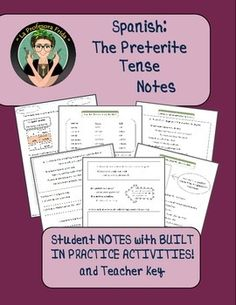 Spanish Preterite Tense NOTES with BUILT IN Practice Activities! 6 pages of notes help your students understand HOW to conjugate regular verbs in the Preterite as well as WHEN to conjugate verbs in the Preterite. Each page explains the various circumstances in which we use the Preterite Tense and includes practice activities so students can immediately use their knowledge and check their understanding.