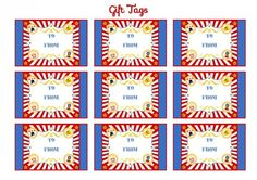 free circus birthday party printable gift tags