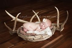 whoever you guys use for newborn pics, this is a super cute idea. Of course, take the girly out of it. I think Matt is a hunter right? @Natasha Matthew