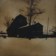 Трахающиеся домики.   х.м.  120х120 2012
