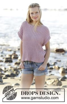 After Swim textured top in DROPS Belle by DROPS Design Free Knitting Pattern