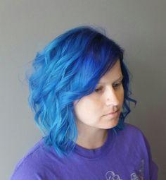 Blue ombre hair Bob curly blue hair by Sam spurgers