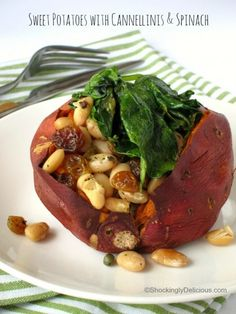 Baked Sweet Potatoes with Cannellinis and Baby Spinach | Vegan Sheet Pan Dinner Recipe with Sweet Potatoes, Beans and Spinach | ShockinglyDelicious.com #SundaySupper