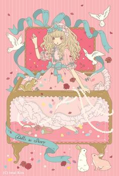 An Angelic Pretty illustration of a girl in a jewelry box by Imai Kira / 今井キラ. Via Tumblr. #gothic #lolita