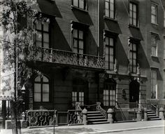 Facade, 14 West 12th Street, Manhattan.  Ironwork balcony on church house of The First Presbyterian Church.  Berenice Abbott, NYPL Photo Archives, NYC vintage photo.  July 16, 1936.