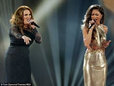 Nicole and Sam Bailey singing 'I am telling you' X Factor Finals Sam Bailey, Louis Walsh, Sharon Osbourne, Gary Barlow, Talent Show, Nicole Scherzinger, Hollywood Glamour, Fishtail, Factors