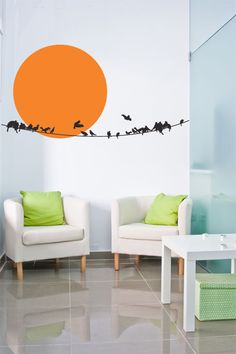 Sun and Birds On A Wire Wall Decal Wall Sticker