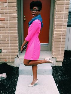 neon pink dress with teal scarf #baydian