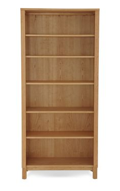 Tall Bookcase With Wood Base Natural Cherry