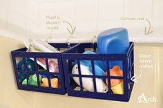 Bathroom Cleaning + Organizing Tips: Use a secondary curtain rod, plastic shower hooks and dollar store baskets to keep bath toys off the floor and allow them to drip dry.