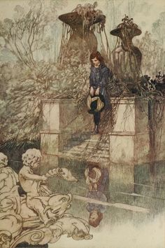 Charles Robinson illustration at The Secret Garden by Frances Burnett, 1911