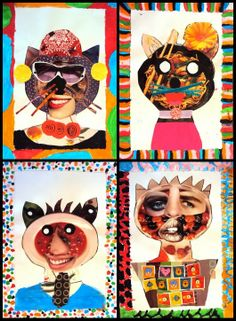 cat collage love the boarders tie to: collage Art Lessons For Kids, Art Lessons Elementary, Art For Kids, Crafts For Kids, Arts And Crafts, Collage Kunst, Collage Art, Box Creative, Face Collage