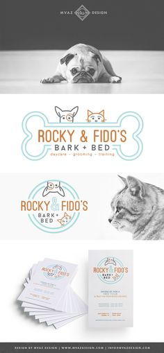 Rocky & Fido's | Bark + Bed Pet Daycare, Grooming, & Traning | Pet Business Branding | Brand Identity | Designed by: MVAZ Design