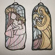 Six beautiful nativity designs to be free standing mylar ornaments or bookmarks. I used opal mylar on all designs and the color in these comes from the different colors in the thread. Fits the hoop and includes instructions. Nativity Crafts, Christmas Nativity, Creative Crafts, Machine Embroidery Designs, Bookmarks, Religion, Spiritual, Xmas, Sewing