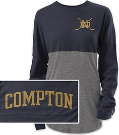 sports shoes f817f 26cbc University of Notre Dame Womens Rah Rah Long Sleeve Shirt  Irish Hockey   Compton Hockey