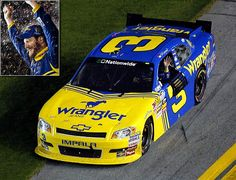 """Putting No. 3 Back in Victory Lane  July 2, 2010  Junior paid tribute to his father at the 2010 Nationwide Series race at Daytona with a car that was adorned in the blue-and-yellow Wrangler paint scheme that the elder Earnhardt used in the early 1980s, complete with the familiar No. 3 on the side. He honored his father's memory the best way possible, by winning the race. Said Junior afterward, """"With that number and that car, nothing but a win would have been good enough."""""""