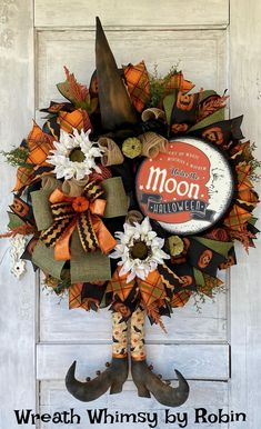 Halloween Primitive Witch Wreath, Fall Wreath, Halloween Decor, Witch Decor, Rustic Halloween Wreath, Prim Witch, Folk Art Rustic Halloween, Halloween Wreaths, Halloween Skeletons, Fall Halloween, Witch Wreath, Wreath Fall, Skeleton Decorations, Halloween Decorations, Witch Decor
