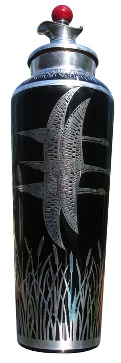 American Art Deco Black Glass and Sterling Overlay Cocktail Shaker