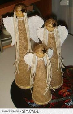 Christmas Angel Crafts, Christmas Mood, Holiday Crafts, Christmas Decorations, Christmas Ornaments, Burlap Crafts, Diy And Crafts, Handmade Angels, Nativity Crafts