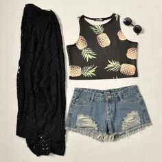 Pineapple crop top, shorts, knitted jacket and sunglasses outfit