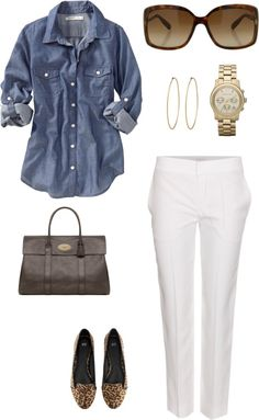 """White trousers + jeans shirt"" by julianawagner on Polyvore"