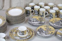 American Atelier Dinnerware Set English Toile Black Service for 10+ Plates Mugs+ | eBay