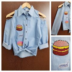 Hurry before stock runs out: Patched - Denim C..., visit http://ftfy.bargains/products/patched-denim-cold-shoulder-shirt-with-front-knot-burger-and-donut?utm_campaign=social_autopilot&utm_source=pin&utm_medium=pin  #amazing #affordable #fashion #stylish