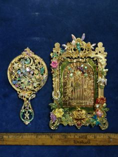 KIRKS FOLLY Fairy Land Door picture frame & LE Collectors Club fairy hand mirror