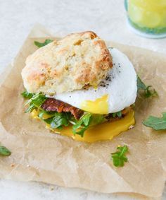 havarti breakfast biscuits with jalapeno, bacon and arugula