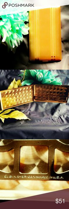 """Vintage Elgin Cigarette/Card Case- New! Vintage Gold Elgin Cigarette/Card Case- New old stock. Bright gold exterior with an """"arm"""" on the interior to keep whatever you're carrying in place. Measures approximately 5.25"""" x 3"""" x .25"""". Vintage  Accessories"""