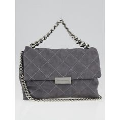 Pre-owned Stella McCartney Grey Shaggy Deer Quilted Faux-Leather Becks... ($595) ❤ liked on Polyvore featuring bags, handbags, shoulder bags, quilted handbags, vegan purses, stella mccartney purse, gray shoulder bag and quilted shoulder bags