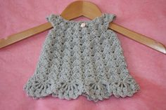 Crochet baby dress Girls dress handmade for newborn baby girl in soft silver grey acrylic. Newborn baby to 3 months approximately,, grey and pink color combo I like