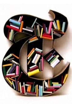 T logo book shelf