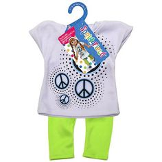 Springfield Collection Hooded Shirt with Leggings, Peace Sign Shirt and Lime Leggings, Multicolor