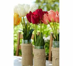 vases wrapped in burlap - very cool! Fuschia #potterybarn