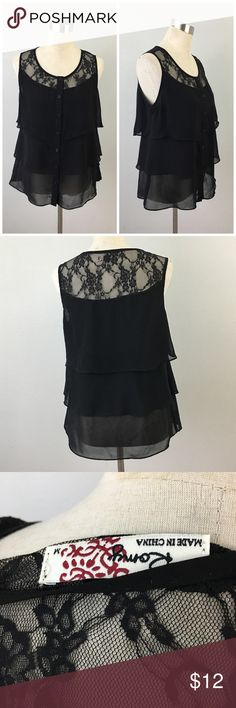 Romy Black Lace Tiered Semi Sheer Button Up Blouse Romy Black Lace Tiered Semi Sheer Button Up Blouse. Size XL. Thank you for looking at my listing. Please feel free to comment with any questions (no trades/modeling).  •Fabric: Polyester  •Condition: Excellent, no visible flaws.   ✨Bundle and save!✨10% off 2 items, 20% off 3 items & 30% off 5+ items! Romy Tops Blouses