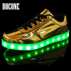 Self-Conscious Led Light Casual Shoes Couple Lace-up Casual Shoes Colorful Flash Sshoes Breathable Sneakers New Arrivals A Wide Selection Of Colours And Designs Men's Casual Shoes Men's Shoes
