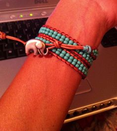 Natural Leather Wrap Bracelet with Turquoise Seed Beads by MyleneV, $25.00