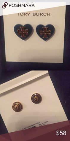 NWT Tory Burch Earrings Brand new, never worn. Come with dust bag. Navy blue and gold. Tory Burch Jewelry Earrings