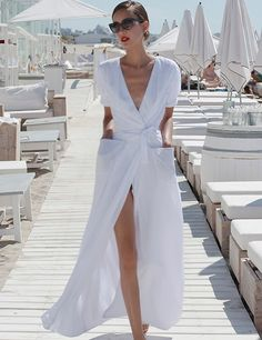 White maxi shirt dress for summer