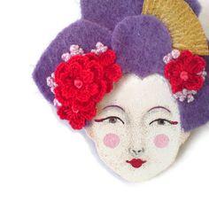 Japanese Girl Felt Brooch Felt Brooch Fabric brooch Art by yalipaz, $25.00