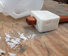 HDPE is the plastic used in many household containers including gallon sized milk jugs. I made an Instructable a while back on the processing of HDPE using a blender. Wood Tools, Diy Tools, Milk Jug Crafts, Kitchen Blenders, Plastic Milk, Rustic Crafts, Homemade Tools, Wood Lathe, Milk Jugs