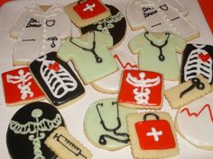 medical cookies Candy Cookies, Cut Out Cookies, Cupcake Cookies, Sugar Cookies, Decorated Cookies, Cupcakes, Medical Party, Doctor Cake, Thank You Cookies