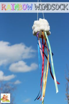 How to make a rainbow windsock with a fab cloud wind catcher. This is a super fun kids craft, perfect for learning about the wind and the weather Weather Activities For Kids, Summer Crafts For Toddlers, Weather Crafts, Spring Activities, Rainbow Activities, Toddler Activities, Class Activities, Kids Diy, Toddler Fun