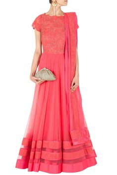 Jade by Monica and Karishma - Featuring a coral double layered tulle anarkali kurta with embroidered pink and silver lace bodice. It comes along with a coral tulle dupatta with embroidered lace border. Indian Dress Up, Ethnic Dress, Indian Attire, Indian Ethnic Wear, Indian Outfits, Colorful Fashion, Asian Fashion, Latest Fashion, Anarkali Dress