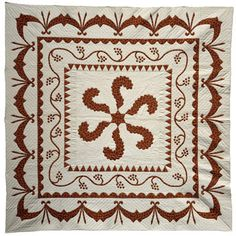 Washington Plume, Princess Feather; Michigan State University Museum; 93 x 93 inches; Mrs. Mary Schafer, 1968; adapted from an 18th century VIriginia territory quilt housed at Mt. Vernon.
